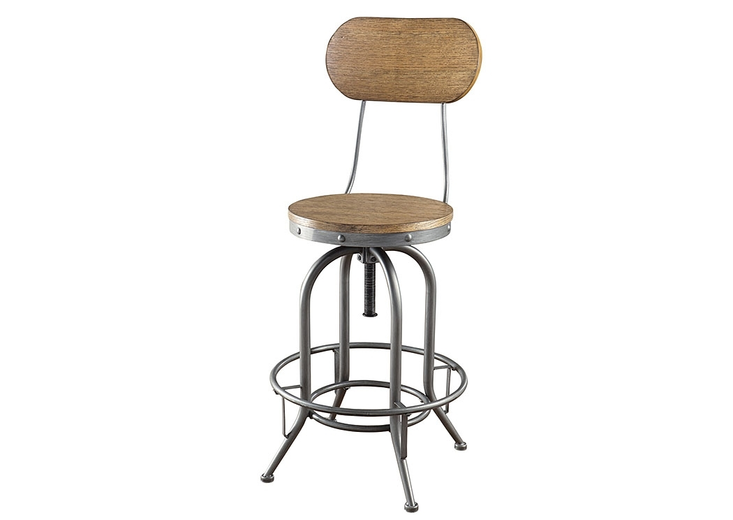 Rice Furniture & Appliance Brown Bar Stool (Set Of 2) Regarding Jaxon 5 Piece Extension Counter Sets With Fabric Stools (Image 21 of 25)
