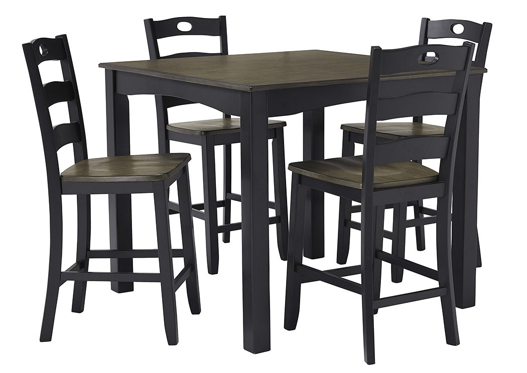 Rice Furniture & Appliance Froshburg Grayish Brown/black 5 Piece Throughout Jaxon 5 Piece Extension Counter Sets With Fabric Stools (Image 22 of 25)