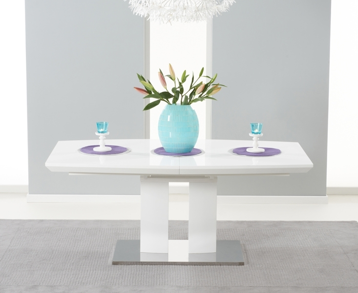 Richmond 180Cm White High Gloss Extending Dining Table In High Gloss White Extending Dining Tables (Image 16 of 25)