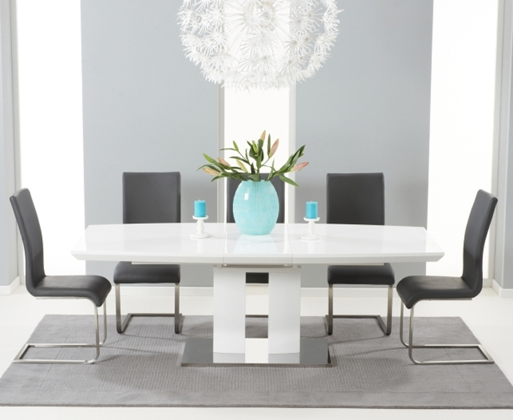Richmond 180Cm White High Gloss Extending Dining Table With Malaga Intended For White Gloss Dining Room Tables (Image 21 of 25)
