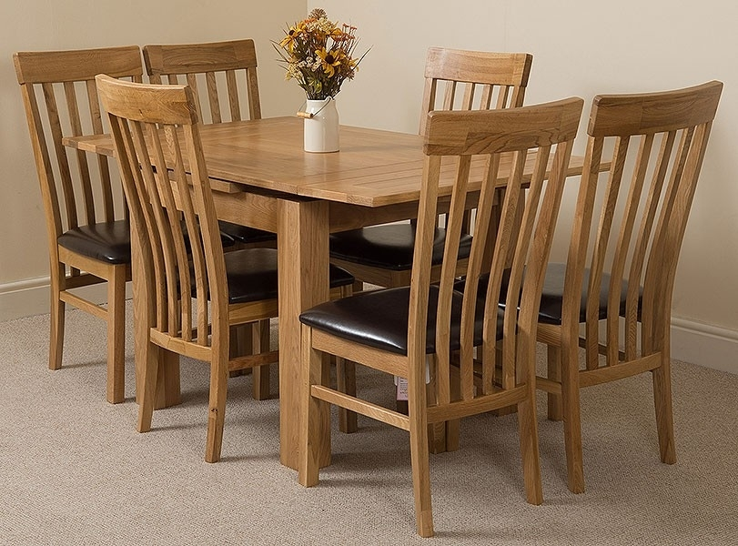 Richmond Medium Dining Set 6 Harvard Chairs | Oak Furniture King In Light Oak Dining Tables And 6 Chairs (View 24 of 25)