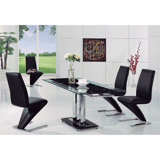 Rihanna Glass Extending Dining Table And 4 Z Chairs 8282 Regarding Black Glass Extending Dining Tables 6 Chairs (Image 18 of 25)