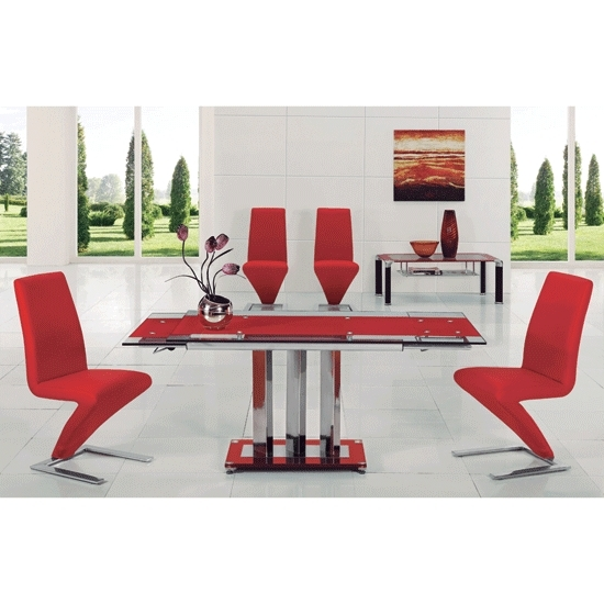 Rihanna Red Glass Extending Dining Table And 6 Z Dining For Glass Extendable Dining Tables And 6 Chairs (View 22 of 25)