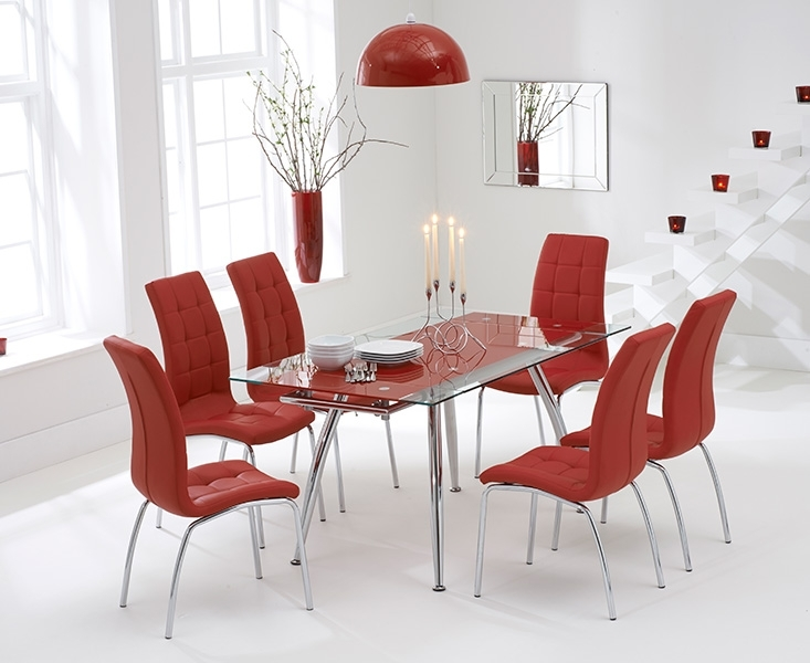 Ritz Red Extending Glass Dining Table With Calgary Chairs With Regard To Extendable Glass Dining Tables And 6 Chairs (View 20 of 25)