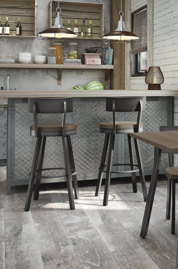 River Western Rustic Swivel Stool Leather Southwestern Bar Throughout Laurent 7 Piece Counter Sets With Wood Counterstools (Image 10 of 25)