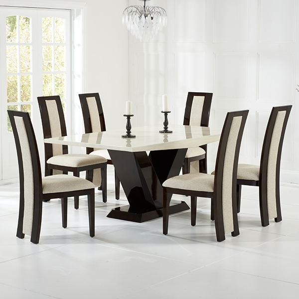 Riviera Brown High Gloss Dining Chairs Pair – Robson Furniture Within Cream Gloss Dining Tables And Chairs (Image 20 of 25)