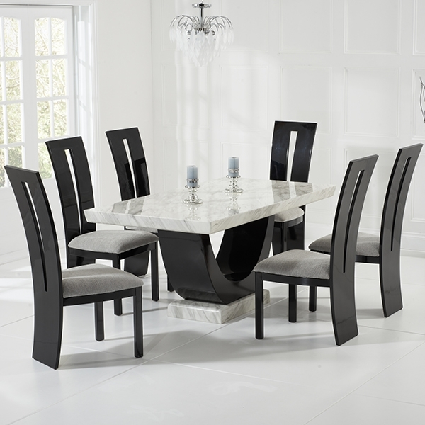 Riviera Cream And Black Marble Dining Table With 6 Chairs – Robson Inside Wood Dining Tables And 6 Chairs (Image 20 of 25)