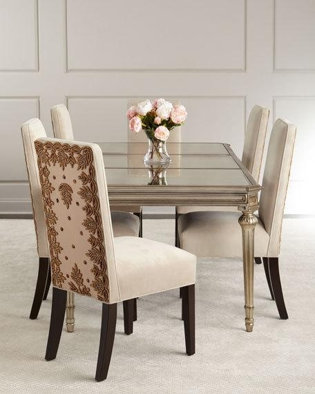 Roberta Antiqued Mirrored Dining Table Inside Antique Mirror Dining Tables (View 4 of 25)