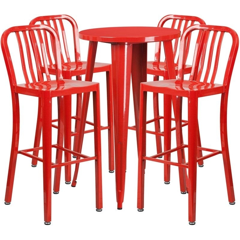 Rochelle Round 24'' Red Metal Table Set W/4 Vertical Slat Back With Regard To Candice Ii 5 Piece Round Dining Sets With Slat Back Side Chairs (Image 24 of 25)