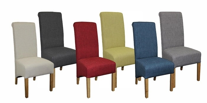 Roll Top Natural Fabric Dining Chair – Dining Chairs & Benches For Fabric Dining Chairs (Image 22 of 25)