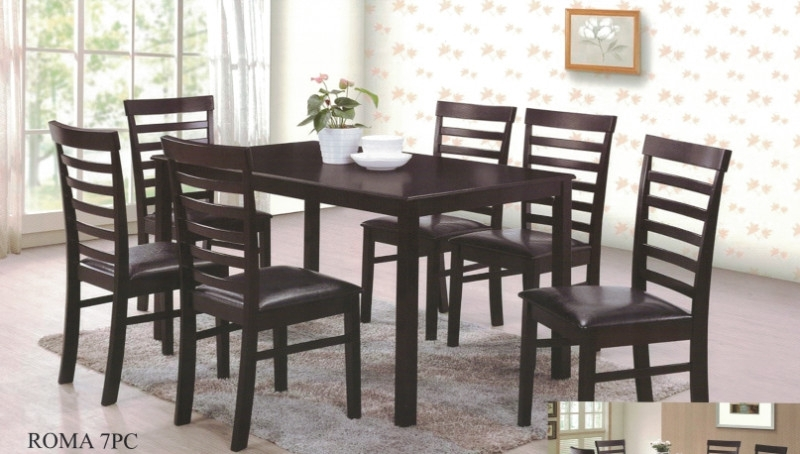 Roma 7Pc 7 Pc Roma Espresso Finish Wood Dining Table Set Within Roma Dining Tables (Image 22 of 25)