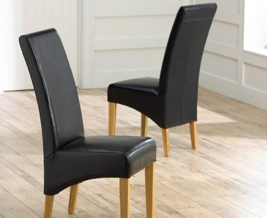 Roma Black Leather Dining Chairs With Solid Oak Legs – Pair | Morale Regarding Oak Leather Dining Chairs (Image 22 of 25)