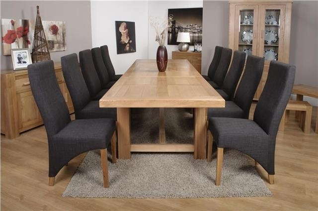 Roma Chunky Oak Furniture Large Dining Table Set 320Cm With 10 For Roma Dining Tables And Chairs Sets (Image 12 of 25)