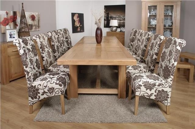 Roma Chunky Oak Furniture Large Dining Table Set 320Cm With 10 Mia Inside Roma Dining Tables (Image 13 of 25)