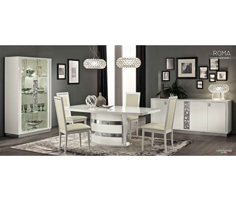 Roma Dining Room Set In White High Gloss Finishcamelgroup, Made Inside Roma Dining Tables And Chairs Sets (View 19 of 25)