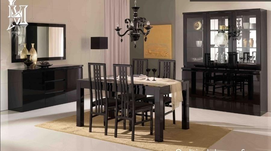 Roma High Gloss Dining Table+4 Chairs Within Black Gloss Dining Room Furniture (Image 19 of 25)