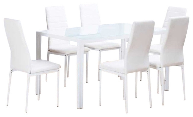 Roma Rectangle White Glass Dining Table And 6 White Montero Chairs Within Roma Dining Tables And Chairs Sets (Image 17 of 25)
