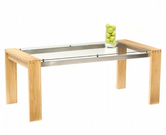 Roma Solid Oak Dining Table With Chrome Struts And Glass Top 180Cm Pertaining To Glass Top Oak Dining Tables (View 23 of 25)