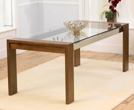 Roma Solid Walnut Dining Table With Chrome Struts And Glass Top For Roma Dining Tables (Image 20 of 25)