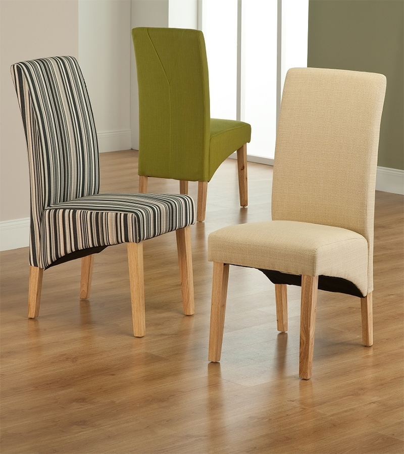 Roma Striped Fabric Dining Chair Within Fabric Dining Chairs (Image 23 of 25)