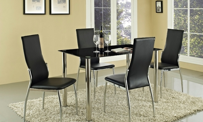 Rome Black Glass Table Set | Groupon Goods Inside Roma Dining Tables And Chairs Sets (View 21 of 25)
