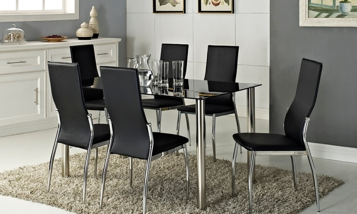 Rome Glass Dining Table Set | Groupon Inside Roma Dining Tables And Chairs Sets (View 9 of 25)