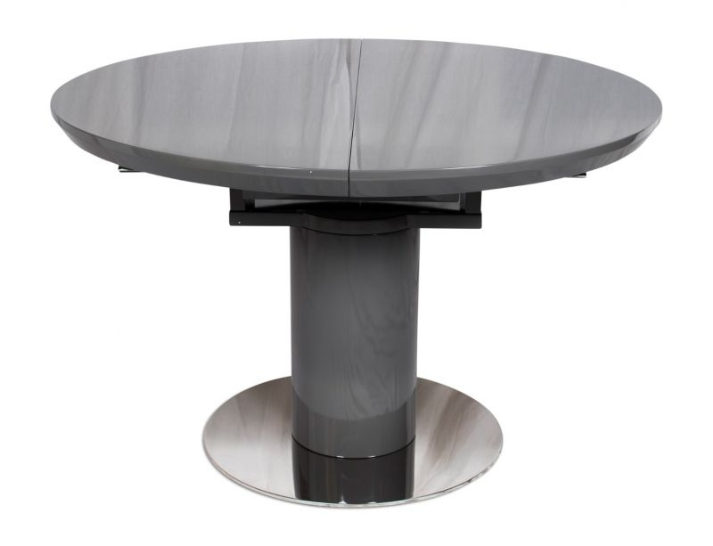 Romeo Round Grey High Gloss Extending Dining Table – Modish Furnishing For Black Gloss Extending Dining Tables (Image 15 of 25)