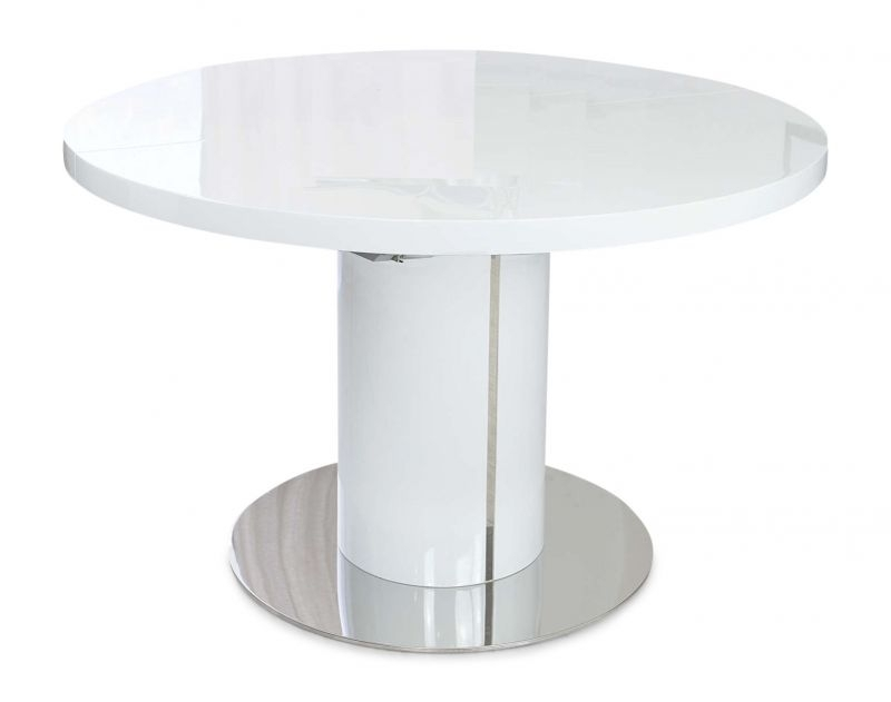 Romeo Round White High Gloss Extending Dining Table Inside White High Gloss Oval Dining Tables (Image 14 of 25)