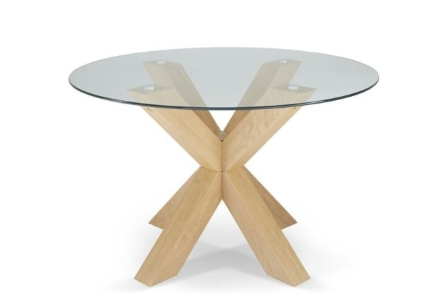 Romford 120Cm Round Clear Tempered Glass Top Dining Table With Oak For Round Glass Dining Tables With Oak Legs (Image 18 of 25)