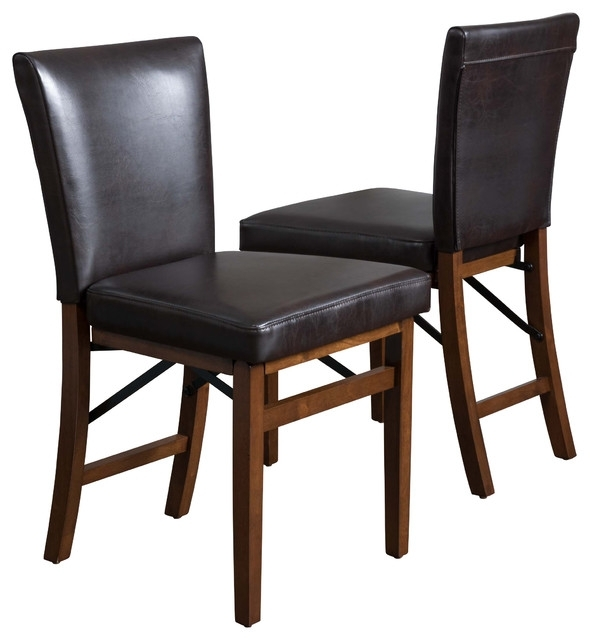 Rosalynn Brown Leather Folding Dining Chairs, Set Of 2 Regarding Black Folding Dining Tables And Chairs (Image 21 of 25)