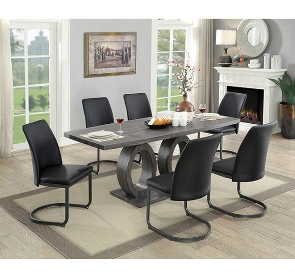 Rosdorf Park Elian 7 Piece Extendable Dining Table | Wayfair Within Candice Ii 7 Piece Extension Rectangular Dining Sets With Uph Side Chairs (View 24 of 25)
