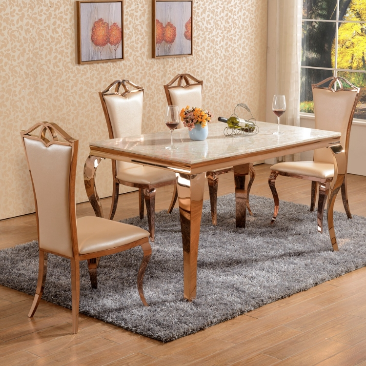 Rose Gold Dining Table & Chairs Set With Marble Top – Allissias Within Laurent 7 Piece Rectangle Dining Sets With Wood Chairs (View 21 of 25)
