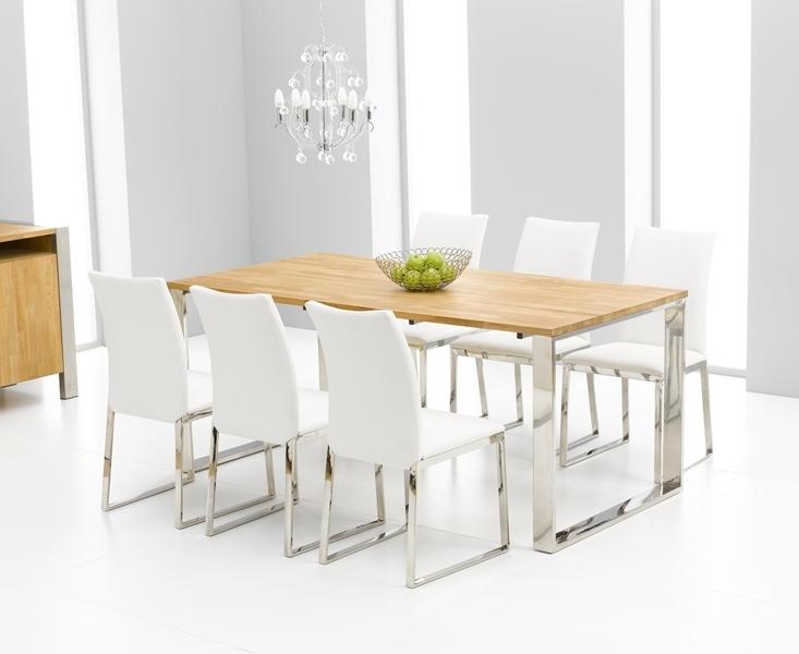 Roseta Oak Chrome Dining Table Oak Furniture Solutions Dining Room Pertaining To Oak Furniture Dining Sets (View 18 of 25)