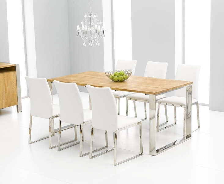 Roseta Oak Chrome Dining Table Oak Furniture Solutions Dining Room Throughout White Dining Tables And 6 Chairs (View 19 of 25)