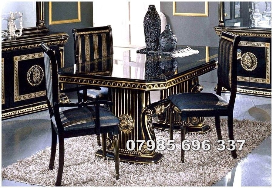 Rossella Italian Dining Table And 6 Chairs In High Gloss With Gold For Italian Dining Tables (Image 22 of 25)