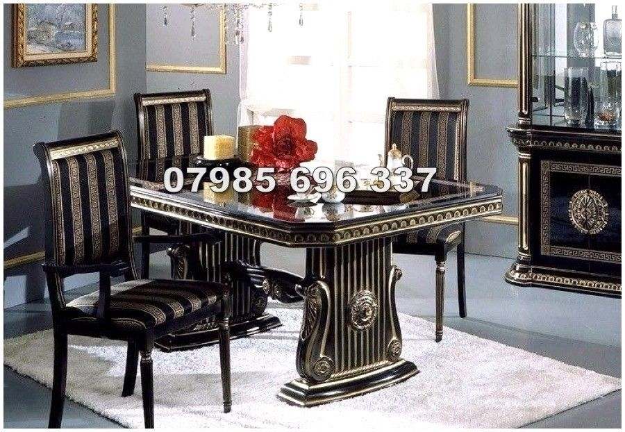 Rossella Italian Dining Table And 6 Chairs In High Gloss With Gold In Italian Dining Tables (Image 23 of 25)