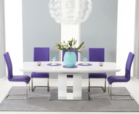 Rossini 180Cm High Gloss Extending Dining Table With 6 Malibu Purple Intended For Dining Tables And Purple Chairs (Image 19 of 25)