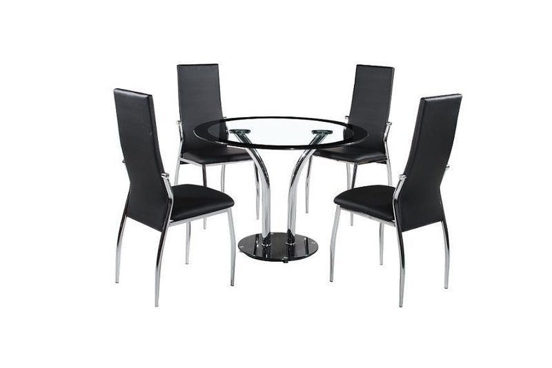 Round 100Cm Clear / Black Glass Dining Table And 4 Chairs With Regard To Round Black Glass Dining Tables And 4 Chairs (Image 21 of 25)