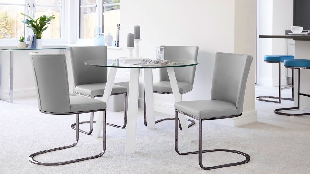 Round 4 Seater Glass And White Gloss Dining Table | Uk Within Round High Gloss Dining Tables (Image 18 of 25)