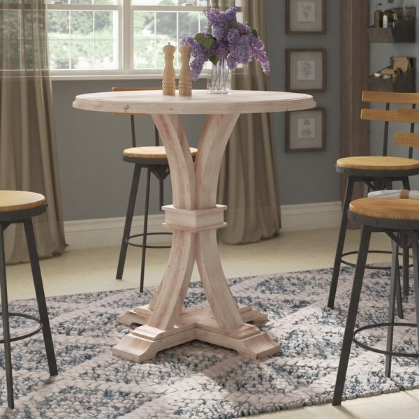 Round Bar Height Dining Table | Wayfair With Regard To Ina Pewter 60 Inch Counter Tables With Frosted Glass (Image 21 of 25)