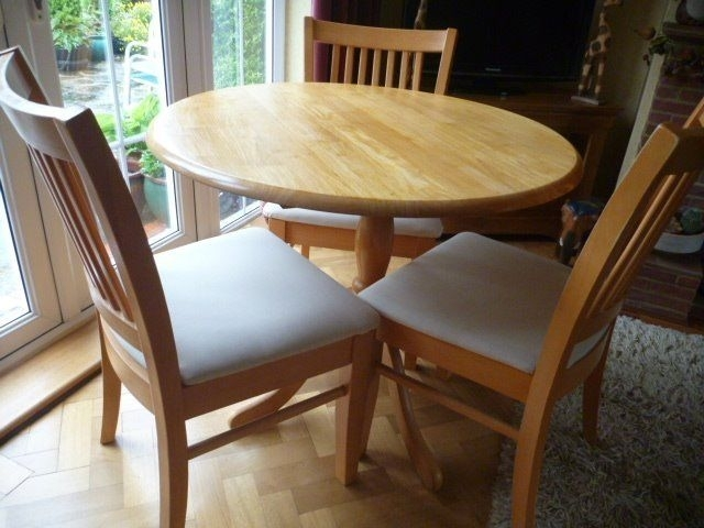 Round Beech Dining Table & 3 Chairs | In Bracknell, Berkshire | Gumtree Regarding Beech Dining Tables And Chairs (View 19 of 25)