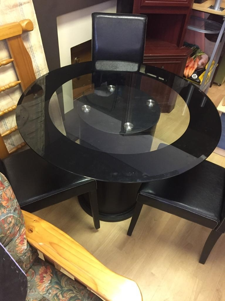 Round Black Glass Dining Table & Three Chairs | In Sunderland, Tyne Throughout Round Black Glass Dining Tables And Chairs (View 6 of 25)