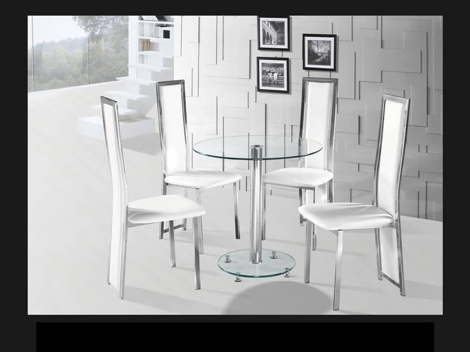 Round Clear Glass Chrome Dining Table And 4 White Chairs Intended For Clear Glass Dining Tables And Chairs (Image 23 of 25)
