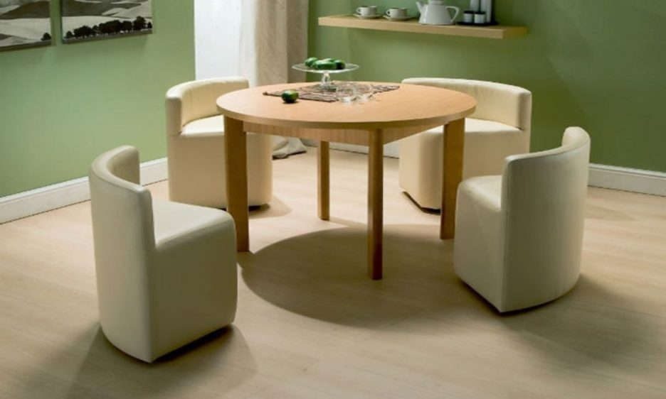 Round Cream Lacquer Oak Wood Dining Table With Tall Legs Added 4 In Cream Lacquer Dining Tables (Image 23 of 25)