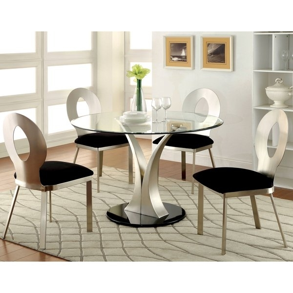 Round Dining Set 5 Piece | Home Design Ideas Pertaining To Jaxon Grey 5 Piece Round Extension Dining Sets With Wood Chairs (Image 18 of 25)