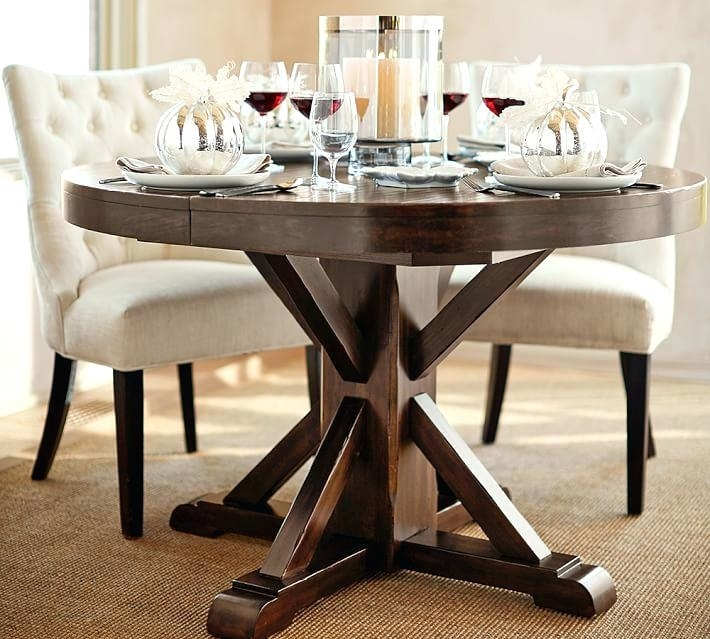 Round Dining Table 48 Round Dining Table Perfect Extending Pedestal Intended For Round Dining Tables Extends To Oval (Image 17 of 25)