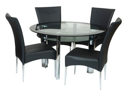 Round Dining Table And Chairs | Take A Seat | Pinterest | Black Within Round Black Glass Dining Tables And Chairs (Image 21 of 25)
