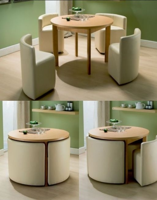 Round Dining Table & Chairs For Small Homes | Dream Kitchen Inside Compact Dining Tables And Chairs (Image 17 of 25)