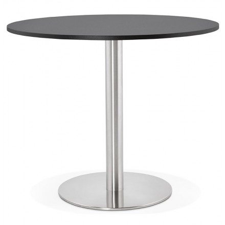 Round Dining Table Design Or Office Carla Wooden Chipboard And Metal Pertaining To Brushed Steel Dining Tables (Image 19 of 25)