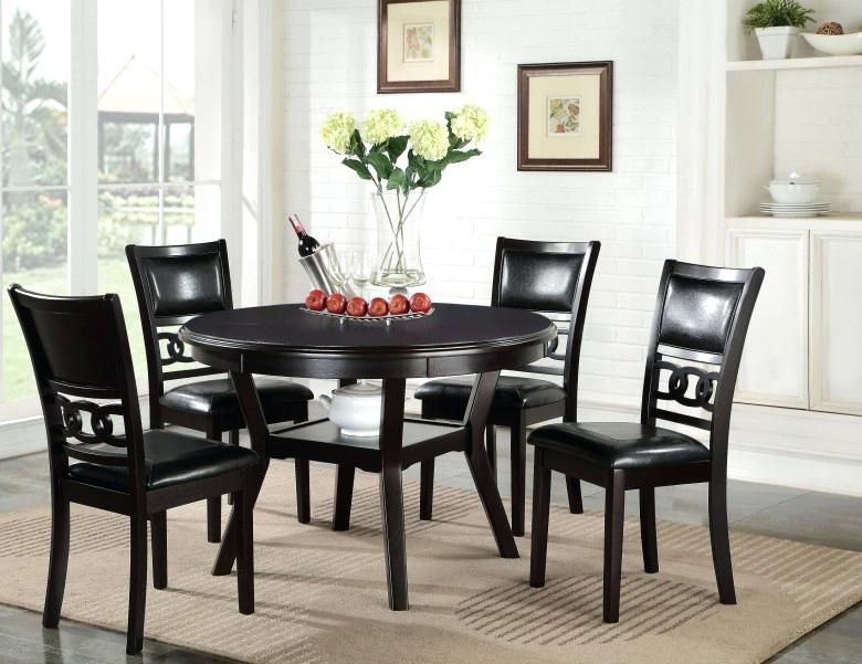 Round Dining Table Set 5 Ebony Round Dining Table Set Rustic Dining In Extendable Round Dining Tables Sets (View 23 of 25)